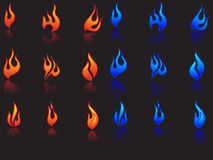Fire icons. Set of fire(red & blue) icons / 18 pcs on a black background Stock Image