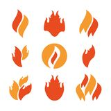 Fire icons set. Fire icons, fire flame  illustration set Royalty Free Stock Photo