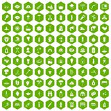 100 fire icons hexagon green. 100 fire icons set in green hexagon isolated vector illustration Royalty Free Stock Photography