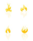 Fire Icons set. On white Stock Photography