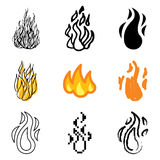 Fire icons set. Fire or flame icons vector set Stock Photos