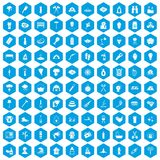 100 fire icons set blue. 100 fire icons set in blue hexagon isolated vector illustration Stock Images