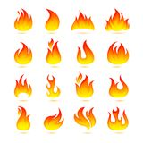 Fire Icons Set. Fire campfire bonfire hot flame curls icons set isolated vector illustration Royalty Free Stock Photos