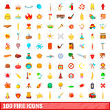 100 fire icons set, cartoon style Royalty Free Stock Image