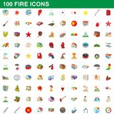 100 fire icons set, cartoon style vector illustration