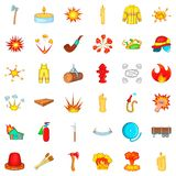 Fire icons set, cartoon style. Fire icons set. Cartoon style of 36 fire vector icons for web isolated on white background Stock Photo
