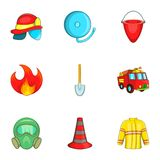 Fire icons set, cartoon style. Fire icons set. Cartoon illustration of 9 fire vector icons for web Royalty Free Stock Photos