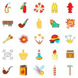 Fire icons set, cartoon style. Fire icons set. Cartoon set of 25 fire vector icons for web isolated on white background Stock Image