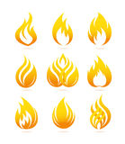 Fire icons set. Fire icons and emblems. Editable vector set Stock Images