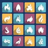 Fire Icons Set. Fire flame burn flare torch hell fiery square long shadow icons set isolated vector illustration Royalty Free Stock Image