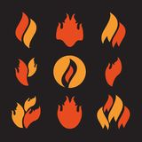Fire icons set. Fire icons, fire flame  illustration set Royalty Free Stock Images