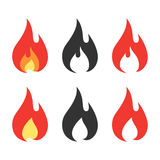 Fire icons set. Flaming fire black and coloured sign. Vector illustration isolated on white background Stock Photography