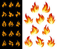 Fire icons set. Set of fire flat icons and pictograms for danger concept or logo design Stock Image