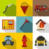Fire icons set, flat style Royalty Free Stock Photos