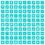 100 fire icons set grunge blue. 100 fire icons set in grunge style blue color isolated on white background vector illustration Royalty Free Stock Photos