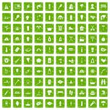 100 fire icons set grunge green Stock Photo