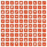 100 fire icons set grunge orange. 100 fire icons set in grunge style orange color isolated on white background vector illustration Royalty Free Stock Image