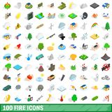 100 fire icons set, isometric 3d style. 100 fire icons set in isometric 3d style for any design illustration stock illustration