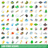 100 fire icons set, isometric 3d style Stock Photography