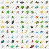 100 fire icons set, isometric 3d style. 100 fire icons set in isometric 3d style for any design vector illustration Royalty Free Stock Photos