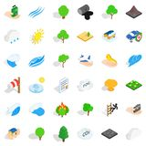Fire icons set, isometric style. Fire icons set. Isometric style of 36 fire vector icons for web isolated on white background Stock Photos