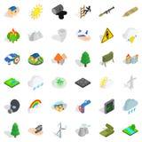 Fire icons set, isometric style. Fire icons set. Isometric style of 36 fire vector icons for web isolated on white background Royalty Free Stock Image