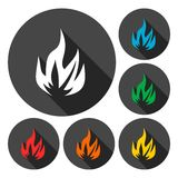 Fire icons set with long shadow Stock Photography