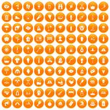 100 fire icons set orange. 100 fire icons set in orange circle isolated on white vector illustration Stock Photo