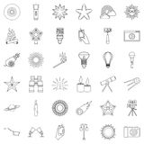 Fire icons set, outline style. Fire icons set. Outline style of 36 fire vector icons for web isolated on white background Stock Image