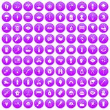 100 fire icons set purple. 100 fire icons set in purple circle isolated on white vector illustration Royalty Free Stock Photography