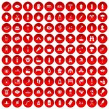 100 fire icons set red. 100 fire icons set in red circle isolated on white vector illustration Stock Illustration