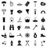 Fire icons set, simle style Royalty Free Stock Photos