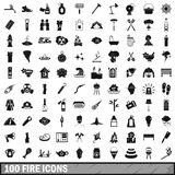 100 fire icons set, simple style Stock Photo