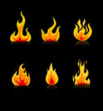 Fire Icons set vector. Illustration Stock Photography
