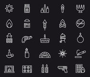 Fire icons. Set of white icons relating to fire on black background Stock Photo
