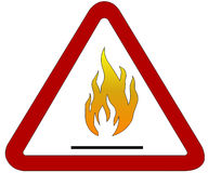 Fire. Illustration of fire in the triangular frame on a white background Stock Photos