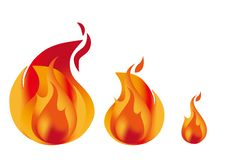 Fire image set. Vector illustration three type. large, medium and small royalty free illustration