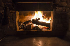 Fire In Fireplace Stock Photos