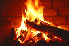 Fire In The Fireplace Royalty Free Stock Image