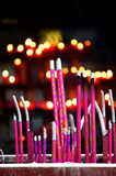 Fire of incense. The incense in the temple Royalty Free Stock Image