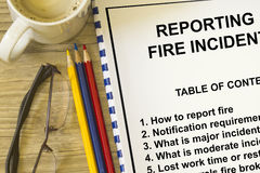 Fire incident reporting. Concept- use in fire prevention and reporting royalty free stock photo
