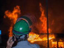 Fire on industrial state wood industry Stock Photography