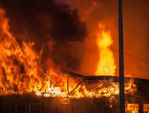Fire on industrial state wood industry Royalty Free Stock Photography