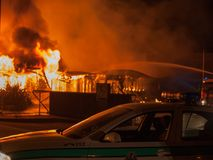 Fire on industrial state wood industry Stock Photo