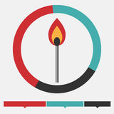 Fire infographics. Fire infographic. Match or mathstick, fire and radial diagram. Design element.  Flat design Stock Photo