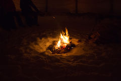 Fire inside a tent stock image