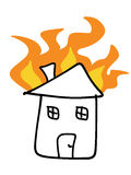 Fire insurance. House fire doodle. Tragic disaster - insurance claim concept. Simple child-like illustration Stock Photography