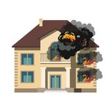 Fire Insurance Colourful. Vector Illustration flat style Royalty Free Stock Photography