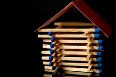 Fire insurance. Wooden house insurance. Safe house. Stock Images