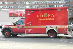 Fire Investigation. A fire investigation van of the Fire Department of New York City, parked in downtown Manhattan Royalty Free Stock Image